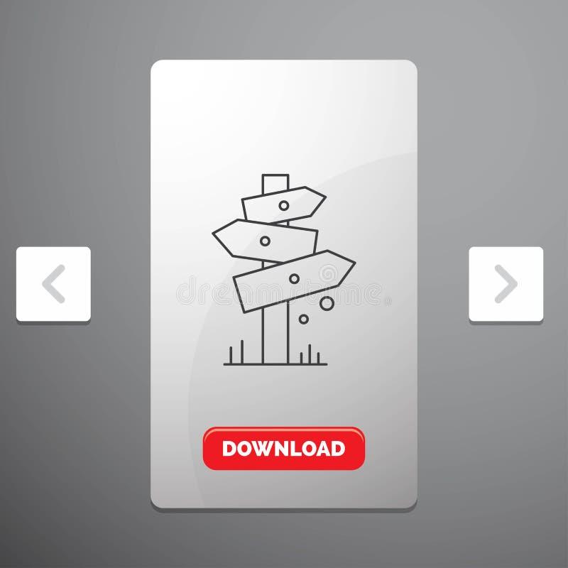 Richtung, Brett, Kampieren, Zeichen, Aufkleber Linie Ikone im Carousals-Paginierungs-Schieber-Entwurf u. roter Download-Knopf lizenzfreie abbildung