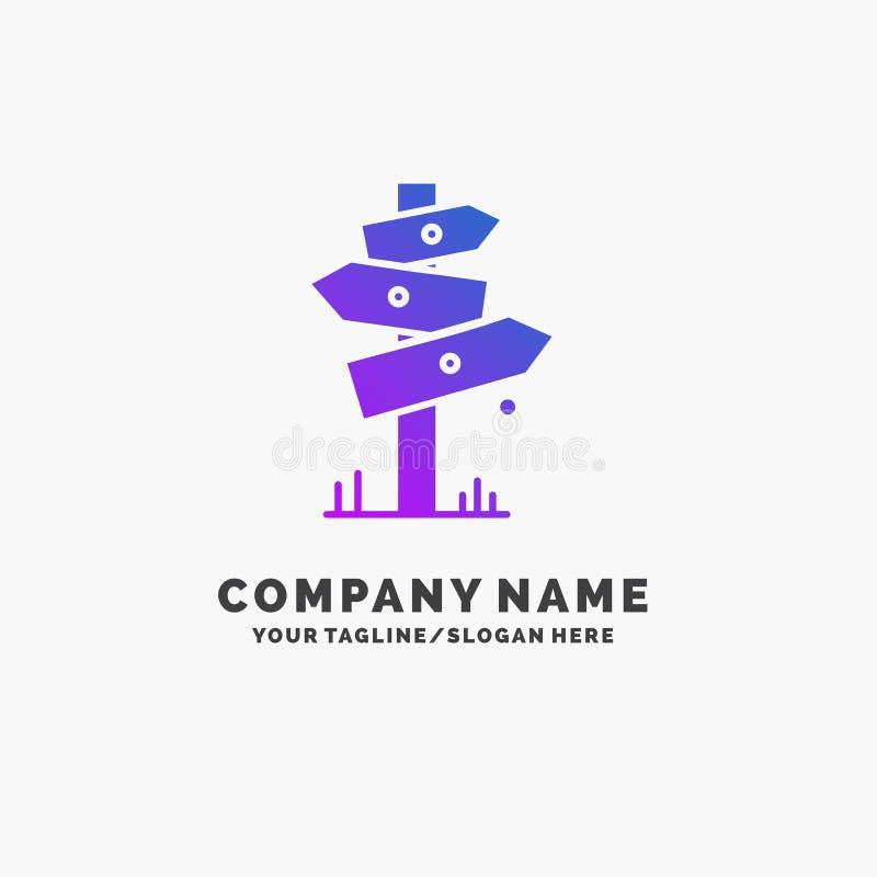 Richtung, Brett, kampierend, Zeichen, Aufkleber purpurrotes Geschäft Logo Template Platz f?r Tagline stock abbildung