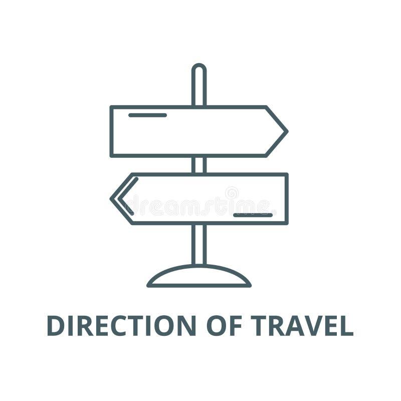 Richtung der Reiselinie Ikone, Vektor Richtung des Reiseentwurfszeichens, Konzeptsymbol, flache Illustration stock abbildung