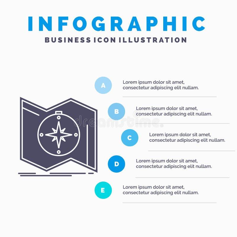 Richtung, erforschen, aufzeichnen, steuern, Navigation Infographics-Schablone für Website und Darstellung Graue Ikone des GLyph m stock abbildung