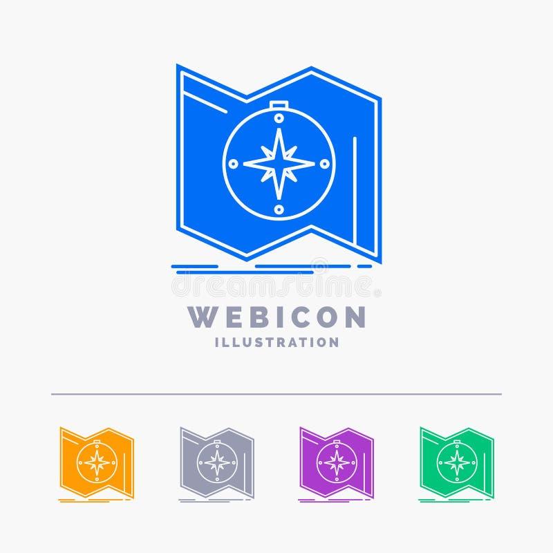 Richtung, erforschen, zeichnen auf, steuern, die Navigation 5 Farbeglyph-Netz-Ikonen-Schablone, die auf Weiß lokalisiert wird Auc stock abbildung