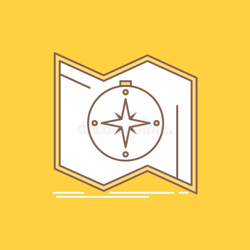 Richtung, erforschen, zeichnen auf, steuern, Navigation flache Linie gefüllte Ikone Sch?ner Logoknopf ?ber gelbem Hintergrund f?r stock abbildung