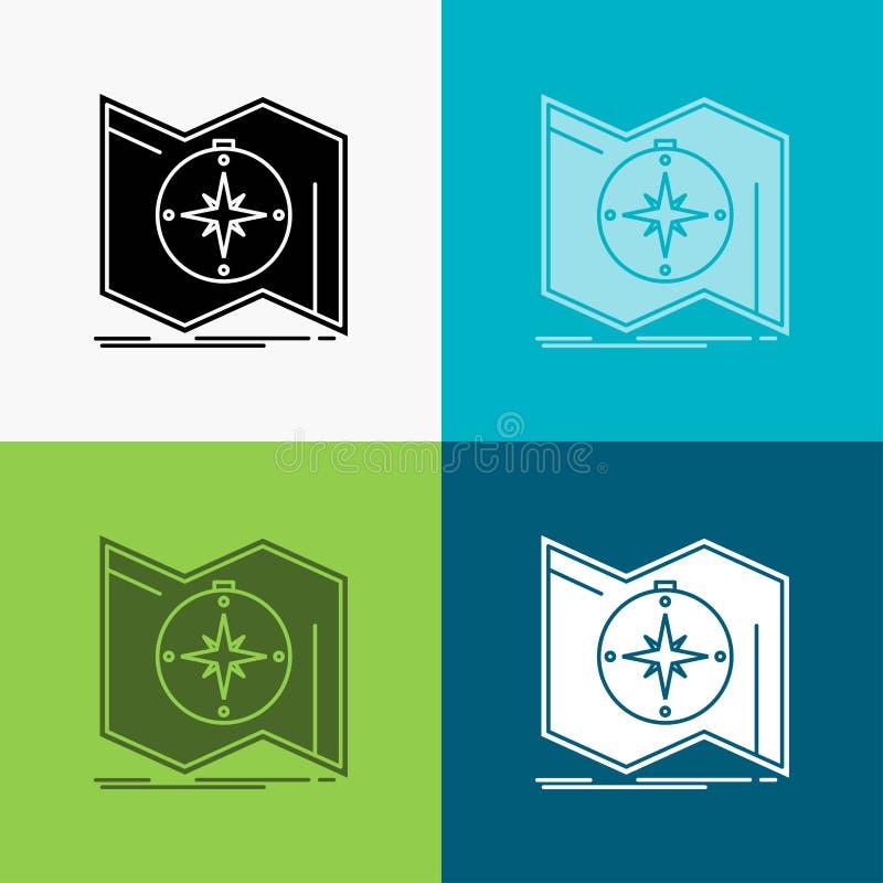 Richtung, erforschen, zeichnen auf, steuern, Navigation Ikone ?ber verschiedenem Hintergrund Glyphartdesign, bestimmt f?r Netz un lizenzfreie abbildung