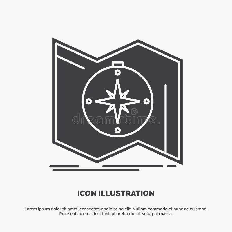 Richtung, erforschen, zeichnen auf, steuern, Navigation Ikone graues Symbol des Glyphvektors f?r UI und UX, Website oder beweglic vektor abbildung
