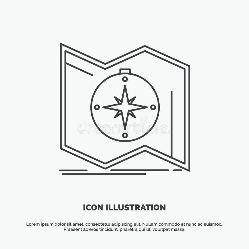 Richtung, erforschen, zeichnen auf, steuern, Navigation Ikone r stock abbildung
