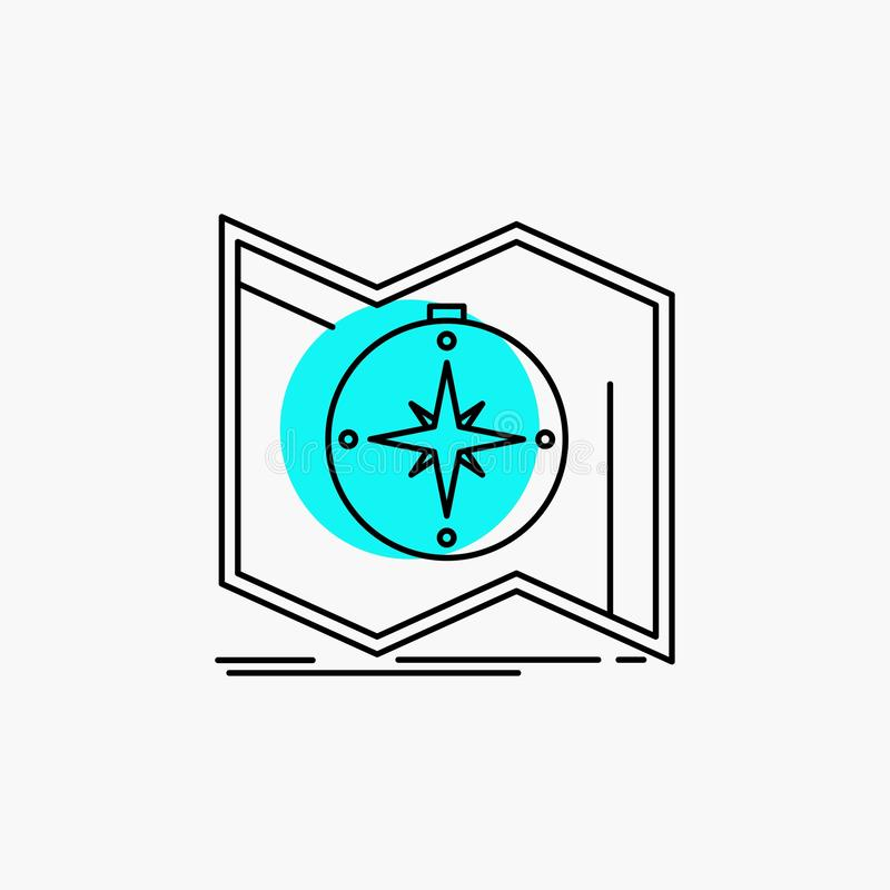 Richtung, erforschen, zeichnen auf, steuern, Navigation Linie Ikone vektor abbildung