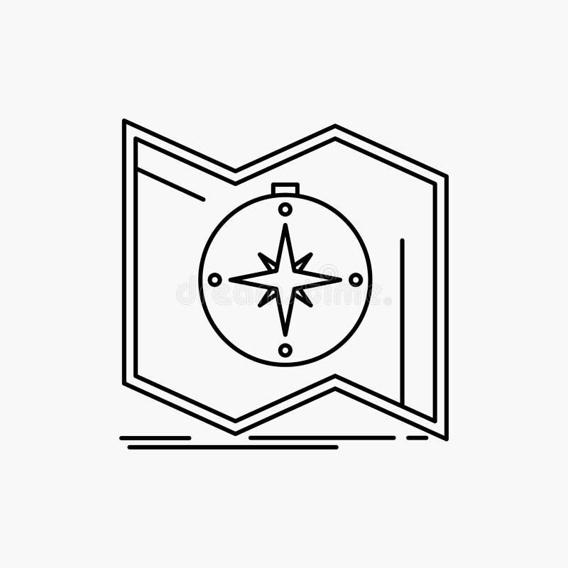 Richtung, erforschen, zeichnen auf, steuern, Navigation Linie Ikone Vektor lokalisierte Illustration lizenzfreie abbildung