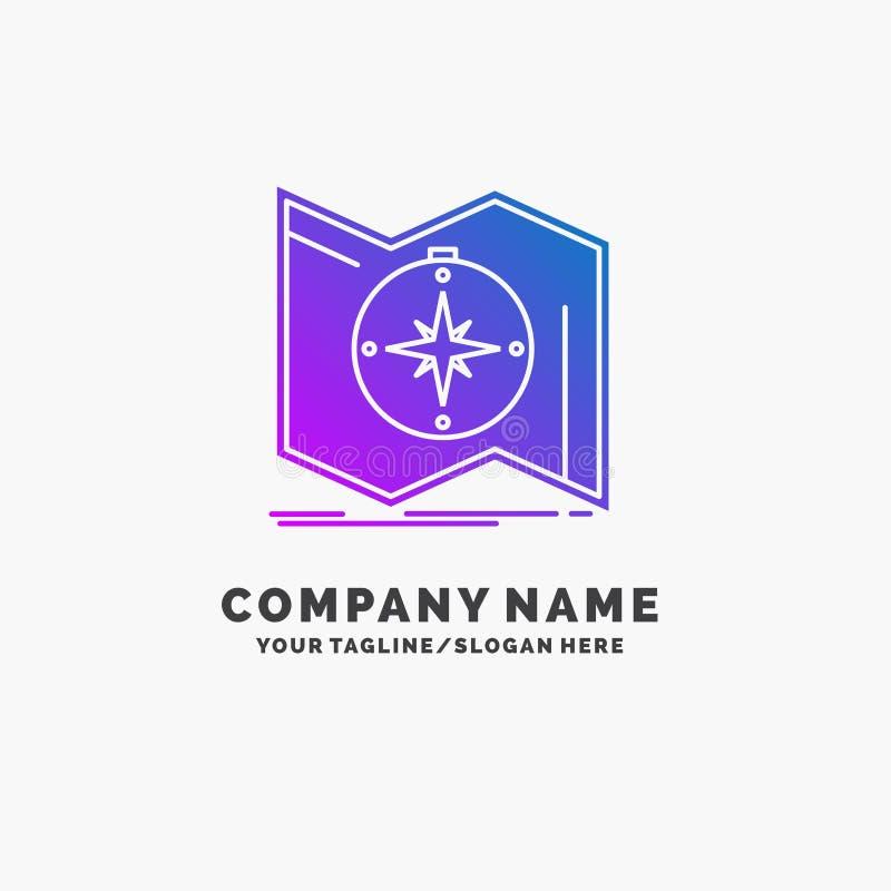 Richtung, erforschen, zeichnen auf, steuern, Navigation purpurrotes Geschäft Logo Template Platz f?r Tagline lizenzfreie abbildung