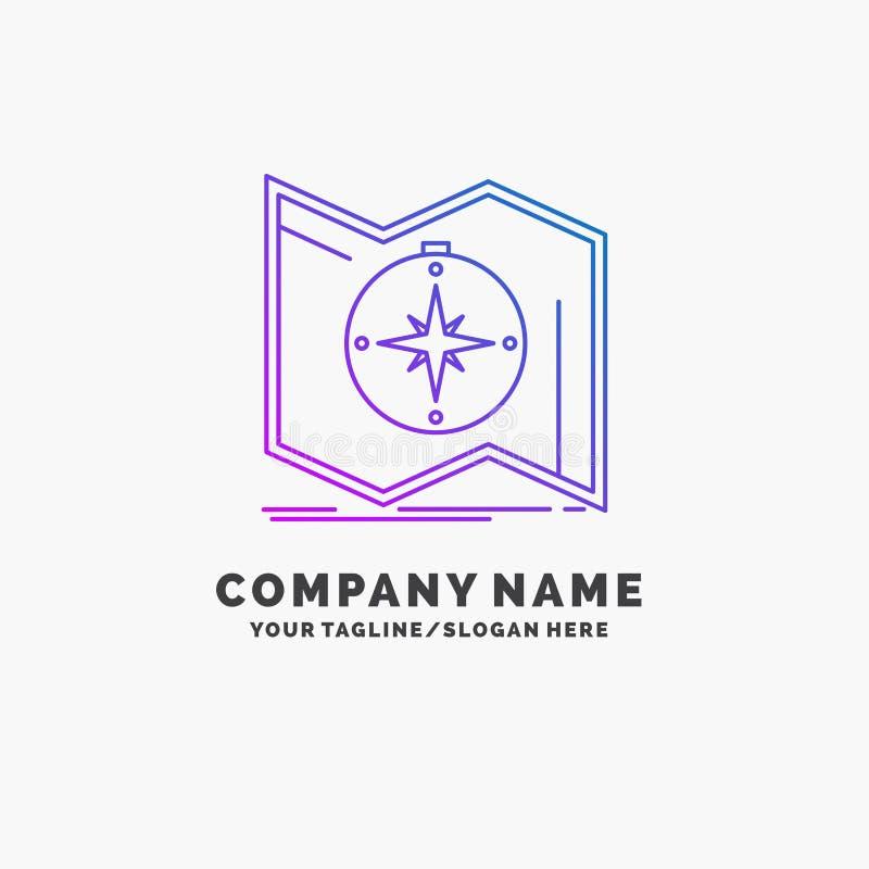 Richtung, erforschen, zeichnen auf, steuern, Navigation purpurrotes Gesch?ft Logo Template Platz f?r Tagline lizenzfreie abbildung