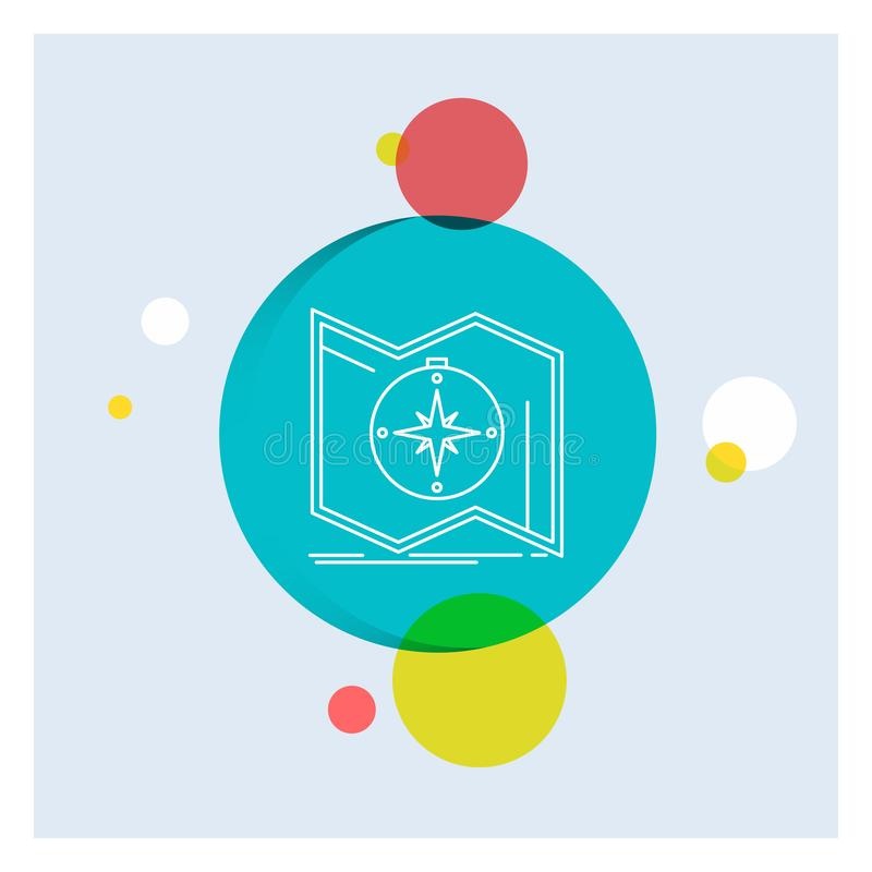 Richtung, erforschen, zeichnen auf, steuern, Navigation weiße Linie Ikonen-bunter Kreis-Hintergrund lizenzfreie abbildung