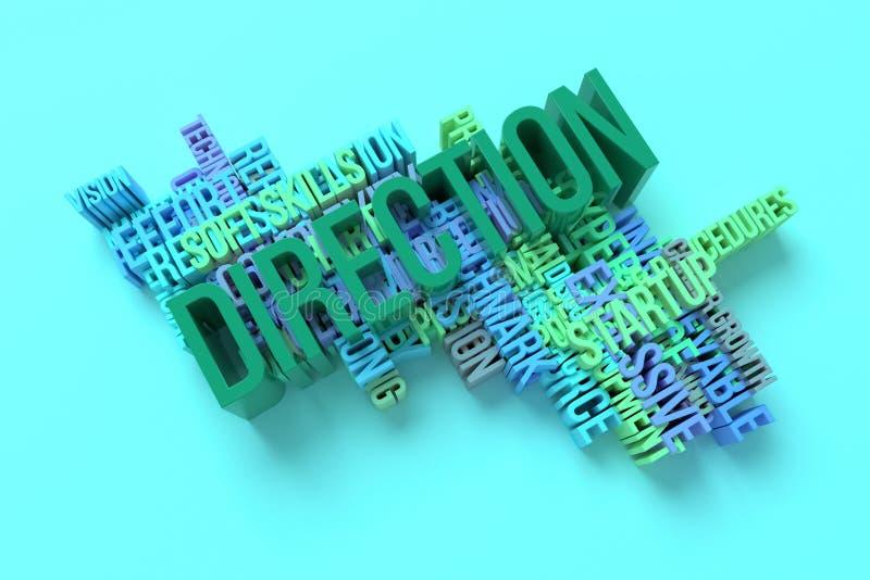 Richtung, Geschäftsschlüsselwort und Wörter bewölken sich F?r Webseite, Grafikdesign, Beschaffenheit oder Hintergrund Wiedergabe  vektor abbildung
