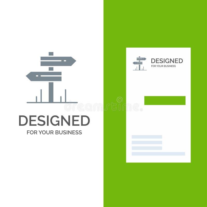 Richtung, Hotel, Motel, Raum Grey Logo Design und Visitenkarte-Schablone stock abbildung