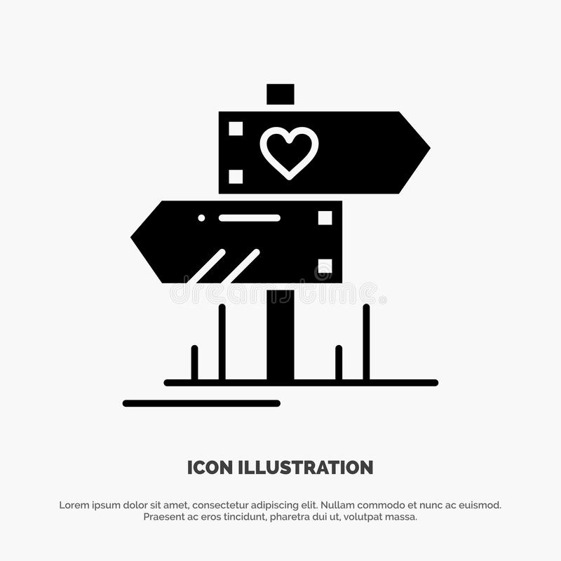 Richtung, Liebe, Herz, Hochzeit fester Glyph-Ikonenvektor stock abbildung