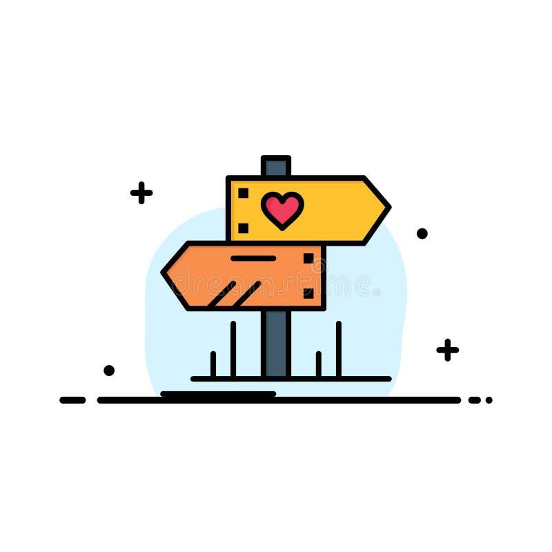 Richtung, Liebe, Herz, Hochzeits-Geschäfts-flache Linie gefüllte Ikonen-Vektor-Fahnen-Schablone vektor abbildung