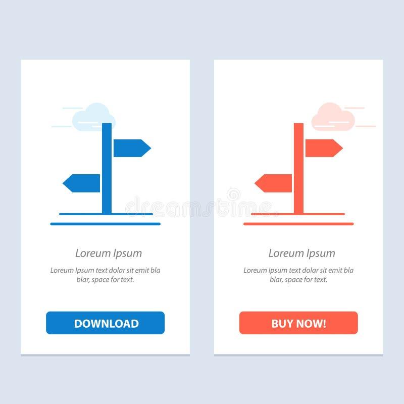 Richtung, logistisch, Brett, Zeichen-Blau und rotes Download und Netz Widget-Karten-Schablone jetzt kaufen stock abbildung