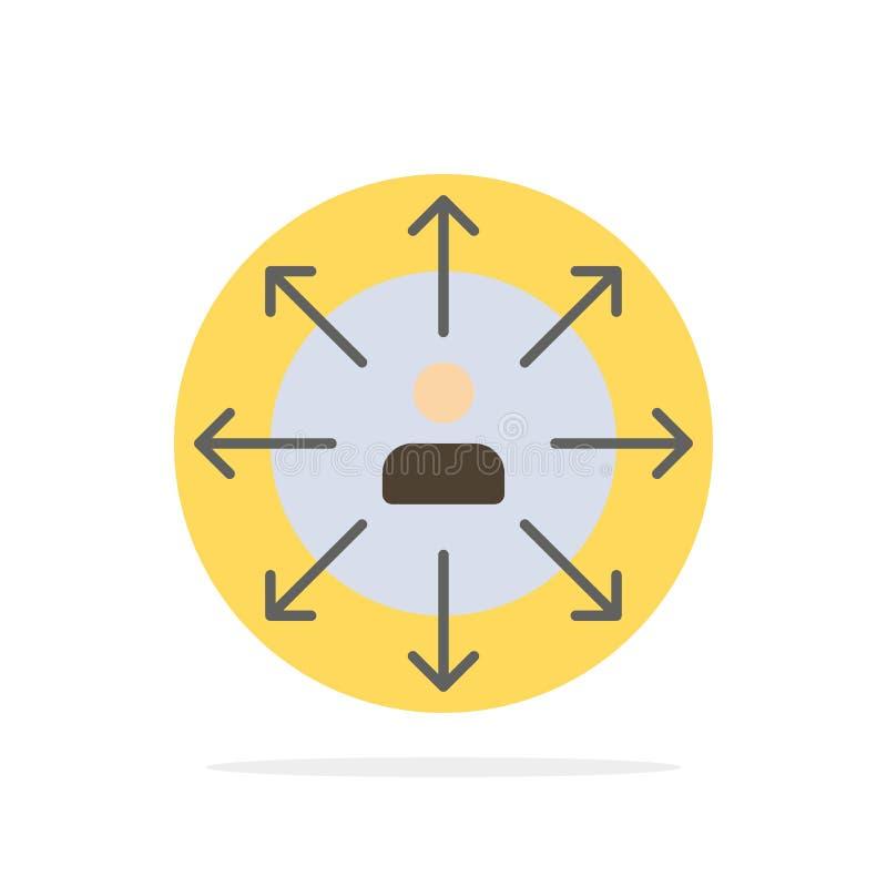 Richtung, Pfeile, Karriere, Angestellter, Mensch, Person, Weisen extrahieren flache Ikone Farbe des Kreis-Hintergrundes vektor abbildung