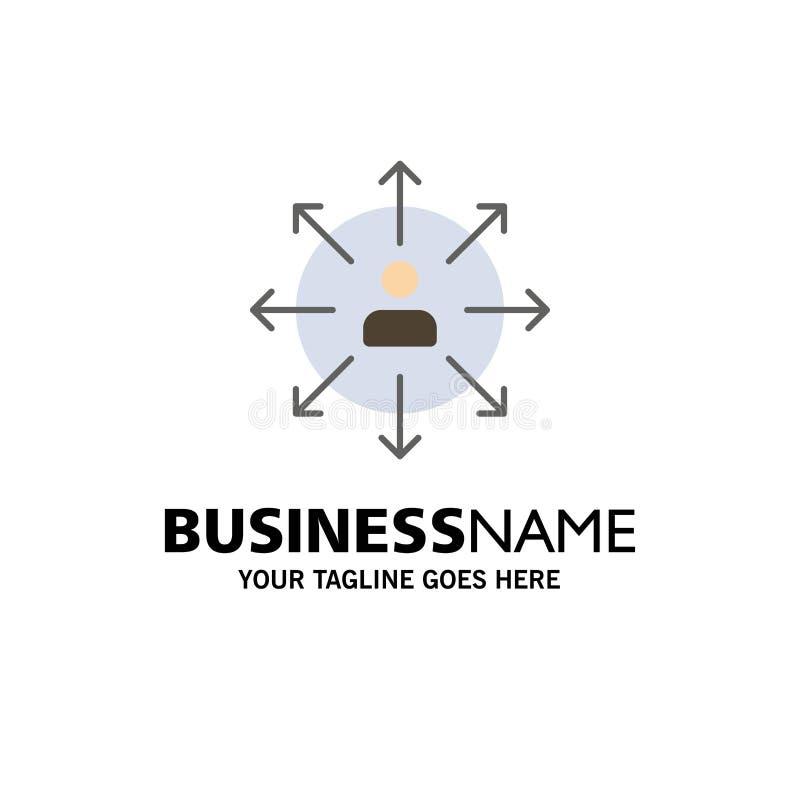 Richtung, Pfeile, Karriere, Angestellter, Mensch, Person, Weisen-Geschäft Logo Template flache Farbe stock abbildung