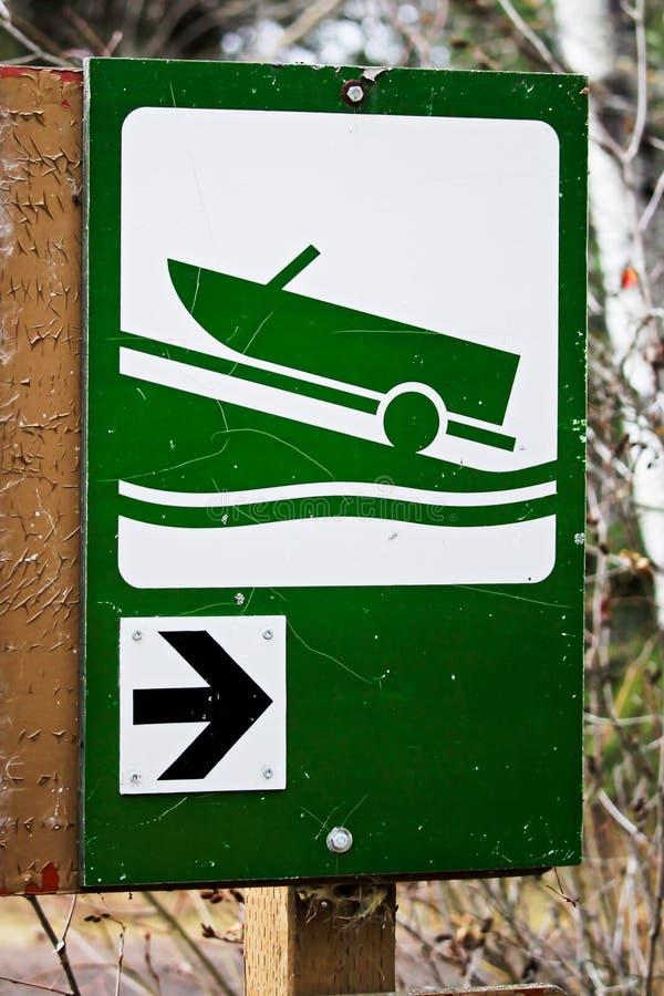 Richtung zum Bootsprodukteinführungszeichen lizenzfreie stockfotografie