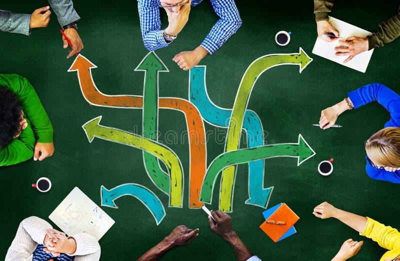 Richtungs-Weg-Ziel-Aspirations-Sitzung, die Planungsconcep lernt stockfotografie