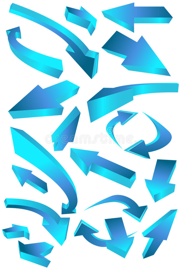 Richtungspfeil-Ikonen - Blau lizenzfreie abbildung