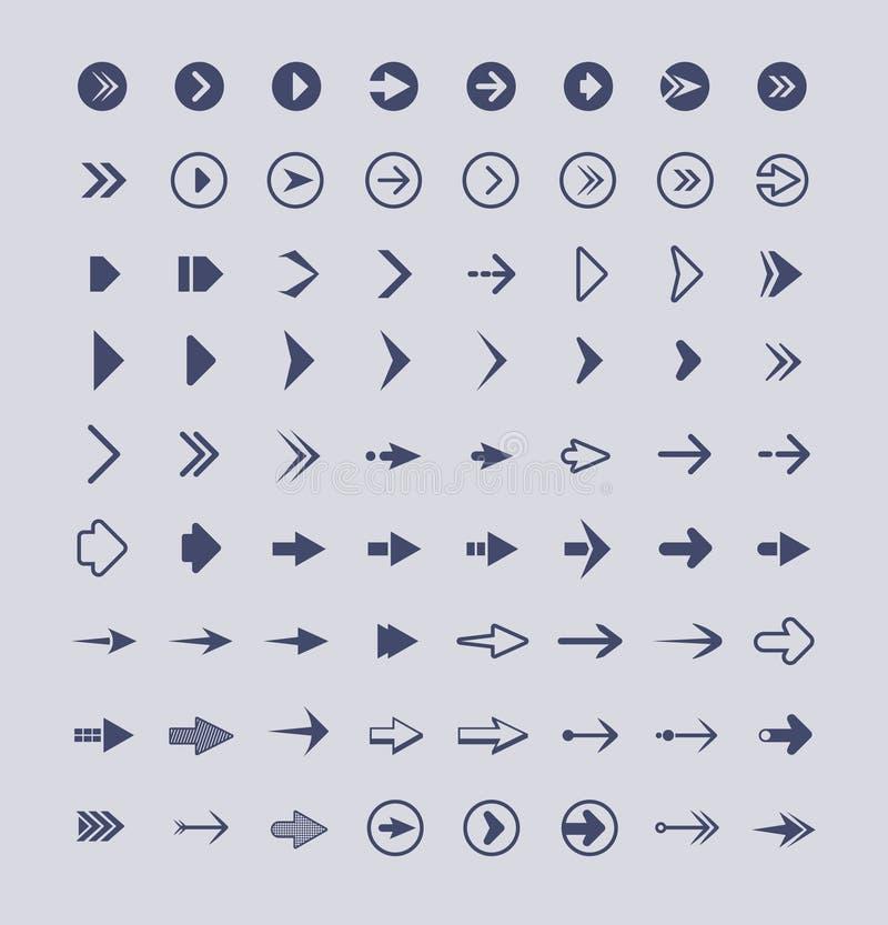 Richtungspfeile Infographic-Netzknopfzeichen- und -ikonenvektorpfeilsammlung lokalisiert vektor abbildung