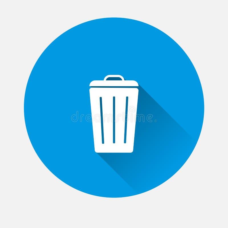 Riciclaggio del contenitore di vettore dell'icona del segno dell'immondizia sul backgrou blu illustrazione vettoriale