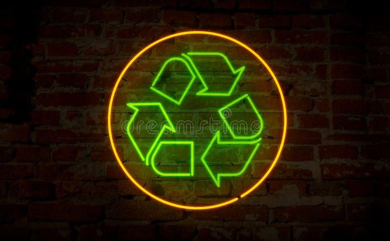 Riciclaggio del neon dell'icona illustrazione di stock