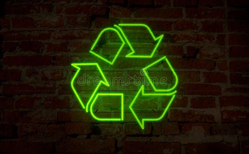 Riciclaggio del neon dell'icona illustrazione vettoriale