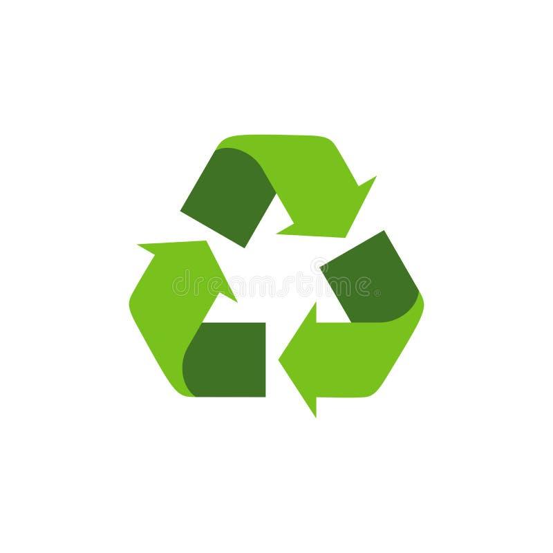 Riciclaggio del simbolo con le frecce verdi Isolato ricicli l'icona sui precedenti bianchi Simbolo internazionale universale di g illustrazione di stock