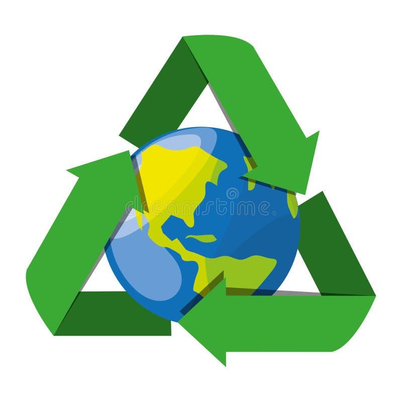 Riciclaggio del simbolo per la conservazione del pianeta illustrazione vettoriale