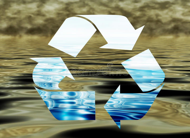 Riciclaggio dell'acqua, concetto ambientale illustrazione vettoriale