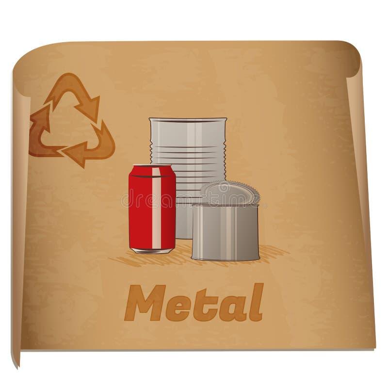 Riciclaggio dell'appunto del metallo illustrazione vettoriale