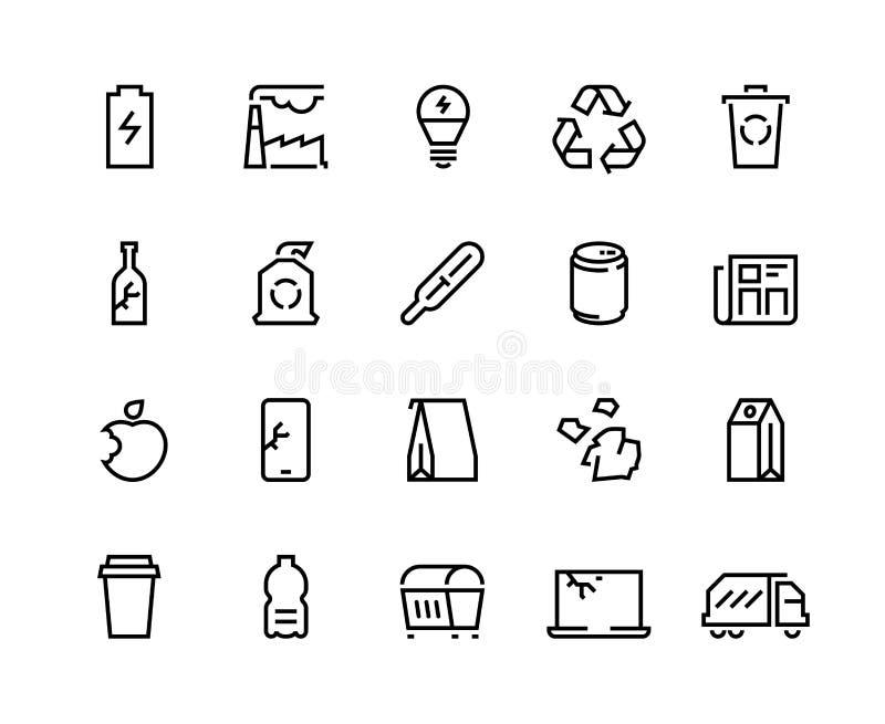 Riciclaggio della linea icone I rifiuti residui di plastica riciclano i rifiuti organici del sacco di carta del recipiente della  illustrazione vettoriale