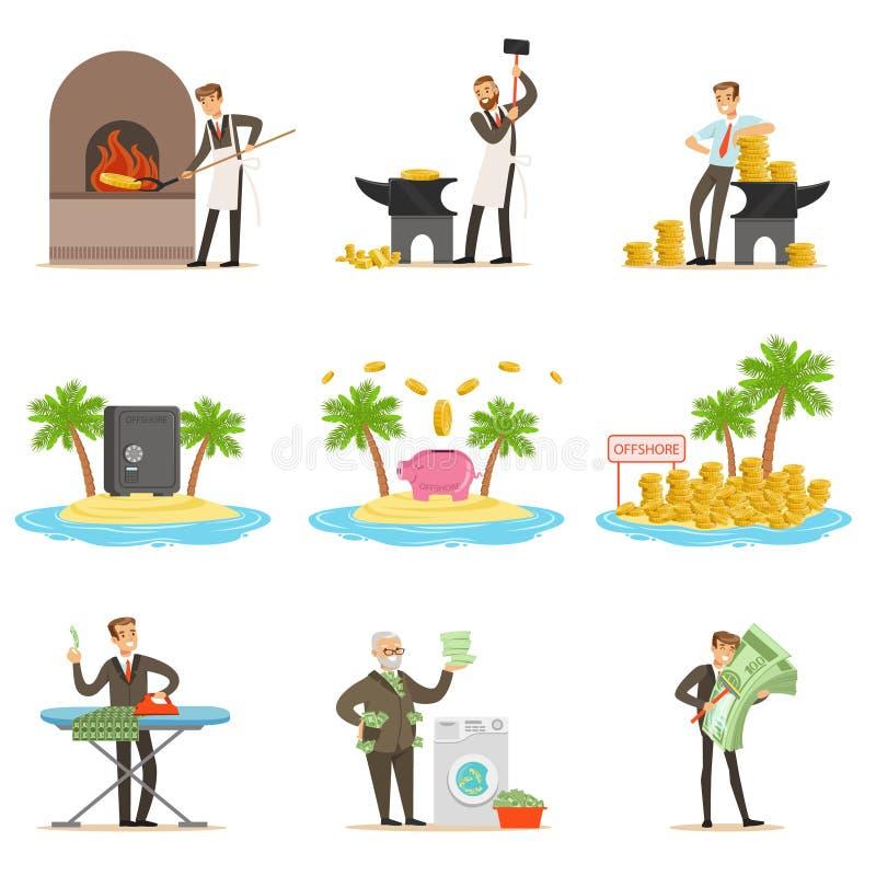 Riciclaggio di denaro illegale ed usando l'insieme di Offshores delle illustrazioni con l'uomo d'affari corrotto Washing Dirty Mo illustrazione vettoriale