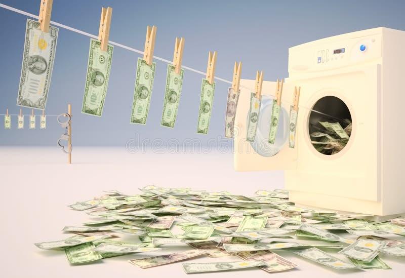 Riciclaggio di denaro, valuta, corda da bucato, lavatrice, Handcu illustrazione vettoriale