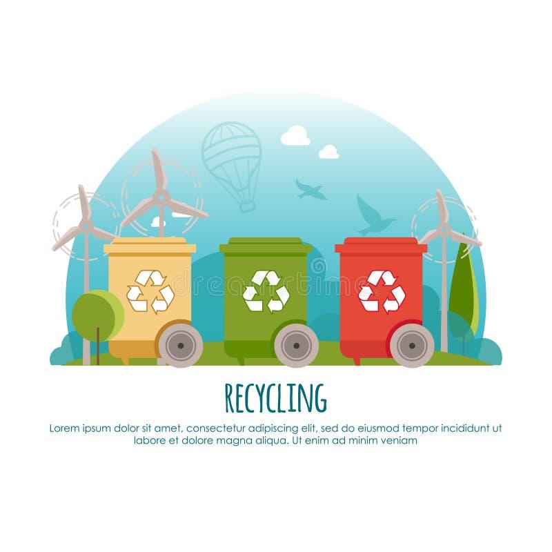 Ricicli gli scomparti La gestione dei rifiuti e ricicla il concetto dell'insegna Pagina Web o illustrazione infodraphic di vettor illustrazione di stock