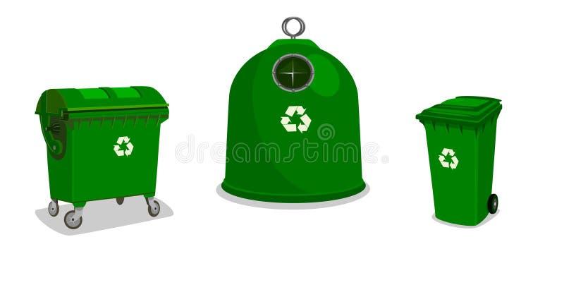 Ricicli gli scomparti nel verde royalty illustrazione gratis