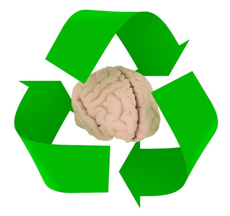 Ricicli il simbolo con cervello umano illustrazione vettoriale