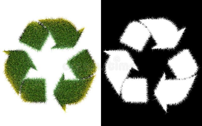 Ricicli il simbolo di logo dall'erba verde, isolata su bianco con illustrazione vettoriale