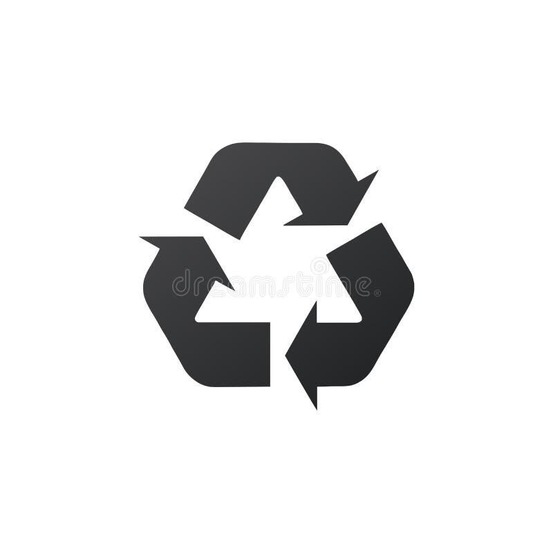 Ricicli l'icona del triangolo della freccia del segno tre Riutilizzi o riduca il simbolo Illustrazione di vettore isolata su prio royalty illustrazione gratis