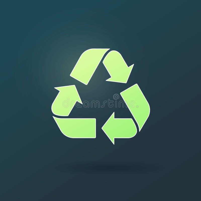 Ricicli l'icona di vettore Simbolo dei rifiuti Bio- concetto residuo di Eco Fondo scuro dell'illustrazione verde realistica di pr illustrazione di stock