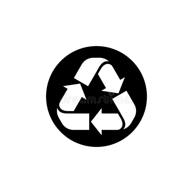 Ricicli l'illustrazione di vettore, ricicli firmano nel vettore nero del cerchio illustrazione vettoriale