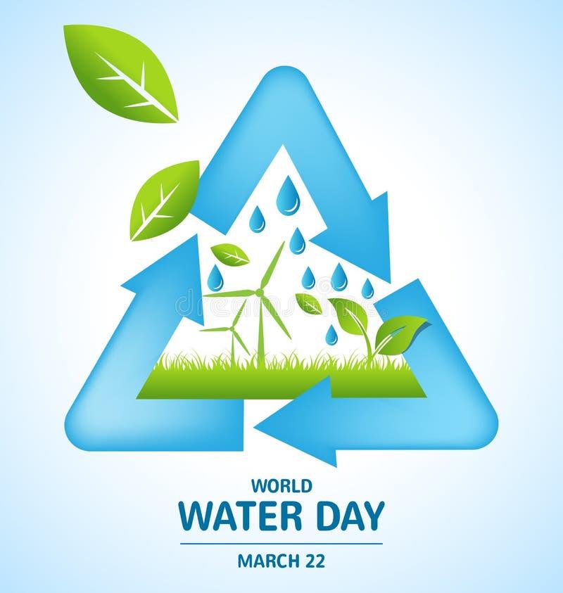 Ricicli la progettazione di simbolo con vento di terra e la foglia per l'acqua del mondo illustrazione vettoriale