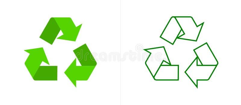 Ricicli le frecce verdi Logo Web Icon di simbolo Cicli, ecologico illustrazione vettoriale