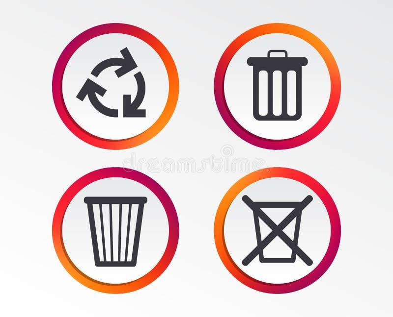 Ricicli le icone del recipiente Riutilizzi o riduca il simbolo illustrazione di stock