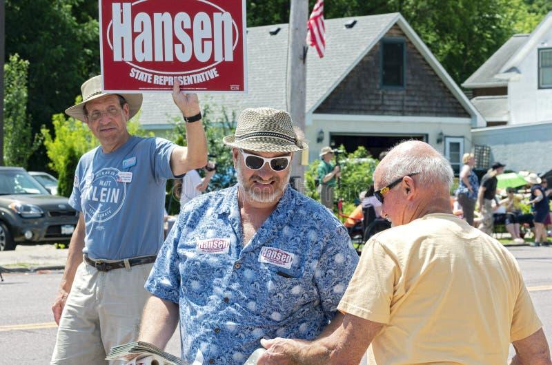 Rick Hansen Greets Constituent at Parade. Mendota, Minnesota/USA - July 13, 2019: Minnesota State Representative Rick Hansen of the Democratic Farmer Labor Party stock images