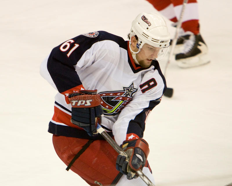Rick Nash Of The Columbus Blue Jackets. Handles the puck during a game against the Detroit Red Wings at Joe Louis Arena during the 2006-2007 season stock image