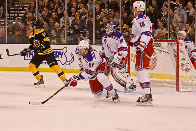 Rick Nash New York Rangers. New York Rangers forward Rick Nash in his first game in a New York Rangers uniform against the Boston Bruins royalty free stock photo