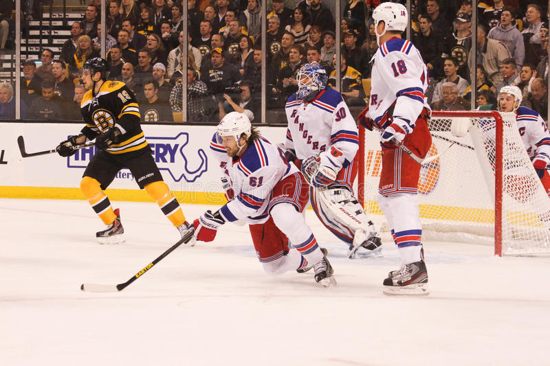 Rick Nash. New York Rangers forward Rick Nash in his first game in a New York Rangers uniform against the Boston Bruins royalty free stock photo