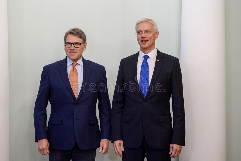 Rick Perry L United States Secretary of Energy and Krisjanis Karins R, Prime Minister of Latvia. RIGA, LATVIA. 8th October, 2019.  Rick Perry L United States royalty free stock photography